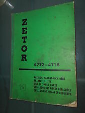 ZETOR tracteur 4712 4718 : catalogue pièces