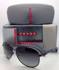New Polarized PRADA Sport Sunglasses SPS 51O 7AX-5W1 62-14 Black Aviator w/ Gray
