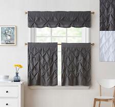 "Hudson Pintuck Kitchen Window Curtain 24"" Tier Pair and Valance Set"