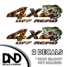 Fire Skull Camo Bass 4x4 Wraps Off Road Decals 2 Pk Sticker Ford Chevy - D&5BF