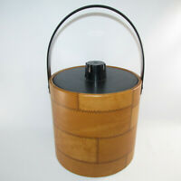 Vtg Irvinware Handled Ice Bucket Pail Tan Brown Faux Leather Patchwork With Lid