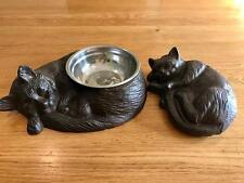 Cast Iron Cat Pet Bowl Feeder + Sleeping Cat Home Garden Ornament Door Stopper