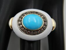 Custom 8.85 tcw  Turquoise & Deep Fancy Brown Halo Diamond 14k YG Cocktail Ring