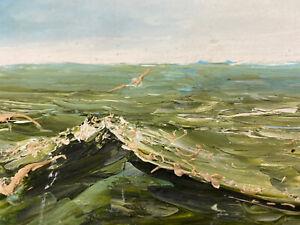 Original Oil Painting Sky 1964 Nautical Blue Ocean Seascape Sky Seagull Signed