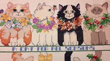 """Vintage - """"A Cat For All Seasons"""" - Cross Stitch Completed, W/ Hoop. (Cat Lover)"""