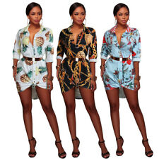 NEW Stylish Women's Long Sleeves Printed Collar Buttons Club Party Shirt Dress