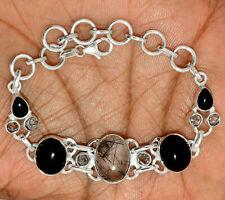 17g Black Tourmaline In Quartz & black Onyx 925 Silver Bracelet Jewelry SB16542