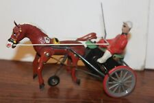 VERY NICE VINTAGE ARABIAN WIND UP SULKY  WITH DRIVER AND HORSE made in Germany