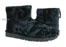 UGG Classic Mini Crushed Velvet Black Fur Boots Womens Size 8 *NIB*