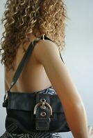 Coach Purse Soho Baguette Shoulder Handbag Black Leather Bag Classic Style