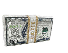 NEW FULL CRYSTAL MONEY CLUTCH  RHINESTONE BEADED EVENING BACK FITS IPHONE 7 PLUS
