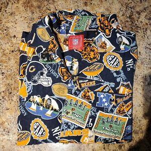 Chicago Bears Men's Sz Large NFL Team Hawaiian Aloha Shirt Football NFC EUC