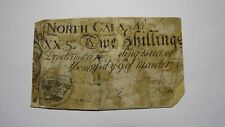 1754 Five Shillings North Carolina NC Colonial Currency Note Bill! RARE 5s