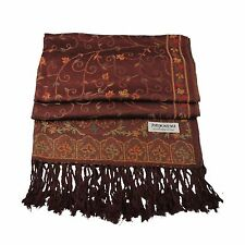 New Soft Pashmina Silk Wrap Shawl Scarf -  Brown Pattern