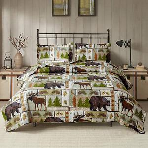 Lodge Bedspread King Size Rustic Cabin Quilt Set Pine Tree Moose Bear Plaid Patc
