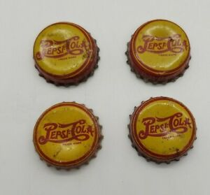 PEPSI-COLA  SODA BOTTLE CAPS CORK LINED Red and Yellow USED Vintage