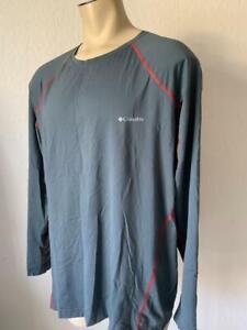 COLUMBIA Men's OMNI HEAT Grey Long Sleeve Performance Lightweight Shirt Size 2XL