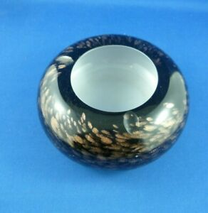 Vintage Art Glass Brown with gold flakes White centre Round Ashtray 12 cms x 5.5