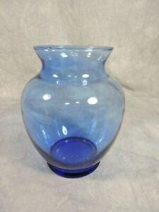 "Blue Glass Vase Simple 6"" Unbranded"