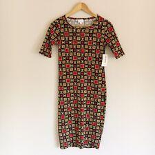 LuLaRoe Julia Dress Womens Size XXS Multi Color Square Geometric Print NWT New