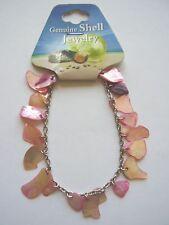 Pink shell charm 7 inch chain bracelet