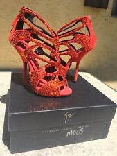 Custom Giuseppe Zanotti Crystal-Swarovski suede high heel sandals embellished 36