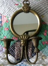 Vintage Brass Wall Mirror with Candle Holders