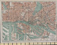 1925 GERMAN MAP ~ HAMBURG CITY PLAN ENVIRONS ALTONA HOSPITAL MARKETS SCHOOL etc