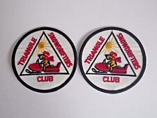"""Lot/2 Vtg """"Triangle Snowdrifters Club"""" Snowmobile Jacket/Hat Patches Conrad, Mt"""