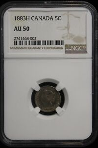 1883 H Canada. 5 Cents. NGC Graded AU-50. (#1)