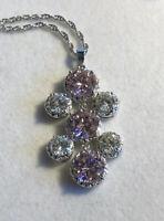 Vintage 1980s Silver Plated Pink Clear Swarovski Crystal Necklace