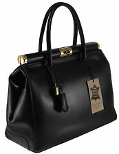 Chicca Borse borsa elegante da donna in vera pelle manici e tracolla nero 9106