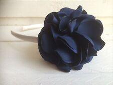Ivory Satin Hairband Headband  Navy Blue Satin Flower  Bridesmaid Flower Girl