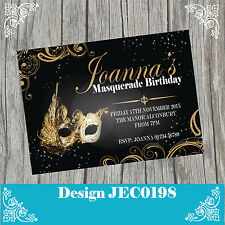 10 Personalised Birthday Party Invitations 30th 40th 50th Masquerade Ball JEC198