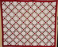 ANTIQUE RED AND KHAKI DIAMOND IN SQUARES QUILT C 1880