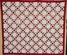 ANTIQUE RED AND KHAKI DIAMOND IN SQUARES QUILT C 1880