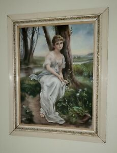 ANTIQUE 1895 FRAMED PASTEL PAINTING DRAWING OF WOMEN IN DRESS SIGNED J ROBINSON