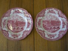 "(2) Johnson Bros. England Old Britain Castles Bread Plates ""Haddon Hall in 1792"""