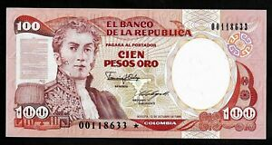 COLOMBIA - PICK 426c - 100 PESOS -  12 OCT 1986 - GEM UNC -  - REPLACEMENT