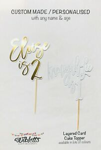 PERSONALISED CUSTOM MADE ANY NAME AGE BIRTHDAY PARTY CAKE TOPPER. ROSE GOLD PINK