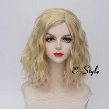 Medium Fashion Light Blonde 35CM Medium Curly Lolita Women Cosplay Party Wig