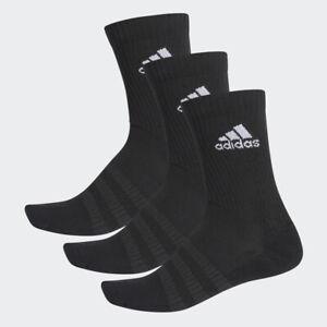 Adidas Mens Womens 3 Pairs Cushioned Socks Crew Socks Sports Gym Cotton