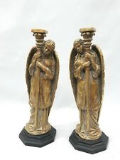 "ANGEL CANDLESTICKS,Pair of 12""Angel Figural Pilar Candlesticks - GREAT DETAILING"
