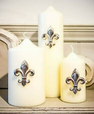 Culinary Concepts 3 Fleur De Lis Candle Pins Only Silver Colour Metal Boxed