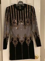 Balmain Velvet Embellished Studded Baroque Mini Dress FR36 New Year Christmas