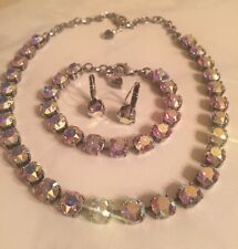 Made w/Swarovski 8mm crystals AB Aurora Borealis set in antique brass n/sabika