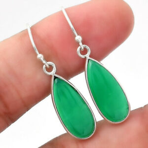Natural Green Onyx 925 Sterling Silver Earrings Jewelry E362