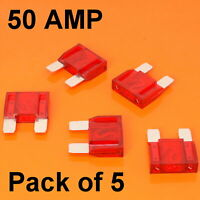 High Quality 5 x 50 Amp Maxi Blade Fuse Fuses Red 50A Car Van Bike Large Fuse