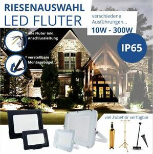 LED Fluter 10-300W 230V LED Außen Strahler IP65 Strahler mit Anschlussleitung