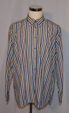 PAUL FREDRICK MENS XL 100% COTTON LONG SLEEVE STRIPED BUTTON FRONT SHIRT